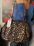 Large brown studded Front Purse